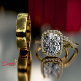 4.4ct Elongated Cushion Cut Diamond Gold Engagement Ring - 02US99
