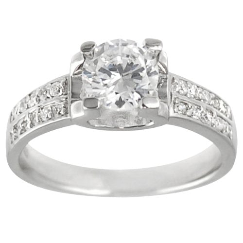 Sterling Silver Round Bridal Engagement CZ Ring