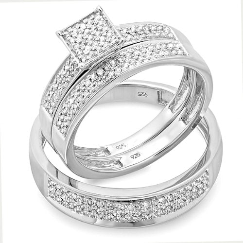 Sterling Silver Round White Diamond Men's & Women's Wedding Set