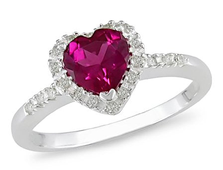 Sterling Silver   Ruby/Diamond Engagement Ring