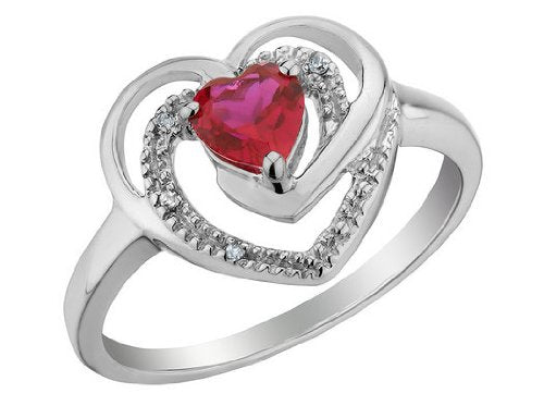 Ruby Heart Engagement Ring with Diamonds
