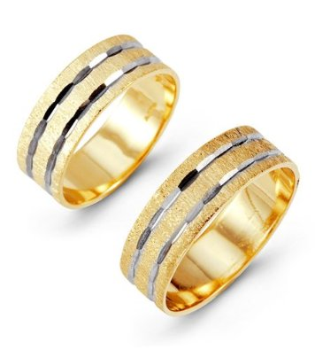 14k Yellow White Wedding Band Set - 03BB01