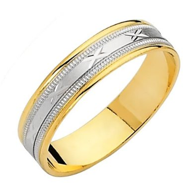 14K Yellow and White Two Tone Gold Satin Wedding Band - 03BB03