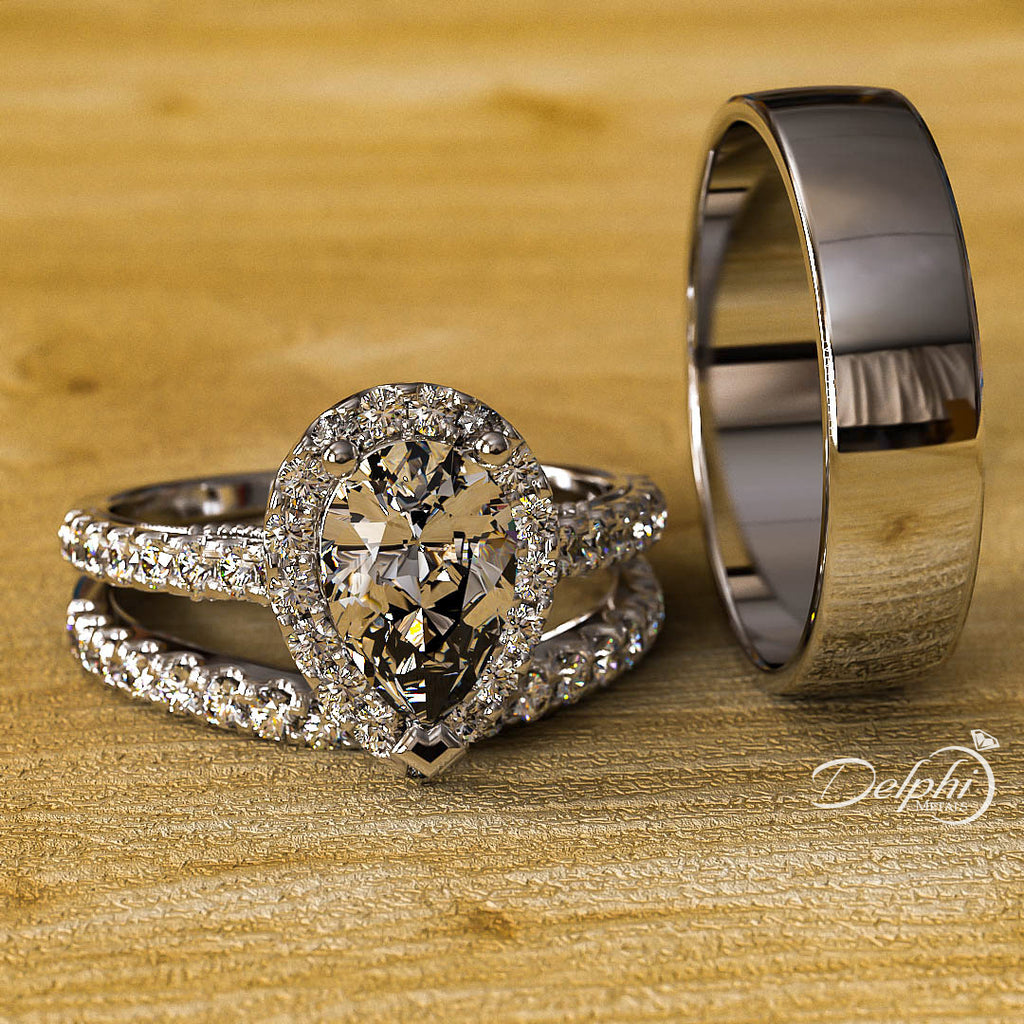 2.0ct Pear Halo Diamond Gold Complete Wedding Set - 03US17