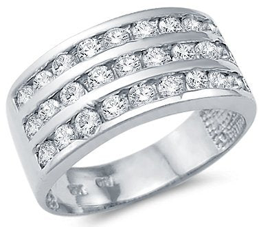 14k White Gold Ladies CZ Cubic Zirconia Anniversary Wedding Band