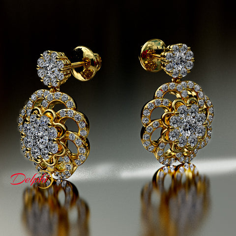 1.22ct Brilliant Cut Diamond Gold Earrings - 03NN07