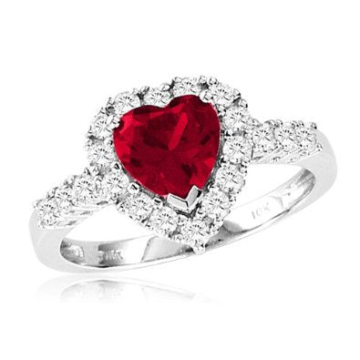 White Gold Heart-Shaped Created Ruby and Round Created White Sapphire Heart Ring - 03RB01