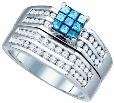 White Gold .88ct Blue Diamond Center  Bridal Set Ring - 03RG11