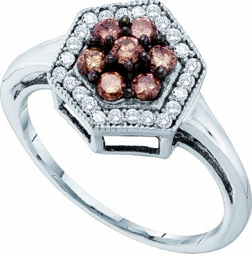 10k White Gold .50 Ct Brown and White Diamond  Diamond Engagement Ring - 03RG13