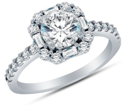 Solid 14k CZ Cubic Zirconia Halo Engagement Ring - 03RG16