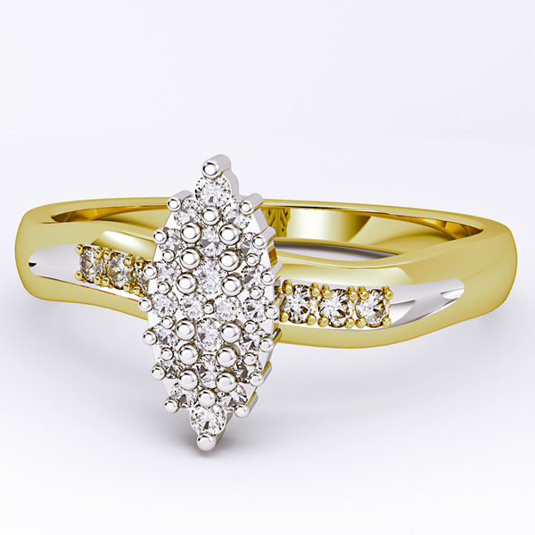 10k Yellow OR White Gold Diamond Cluster Engagement Ring - 03RG26