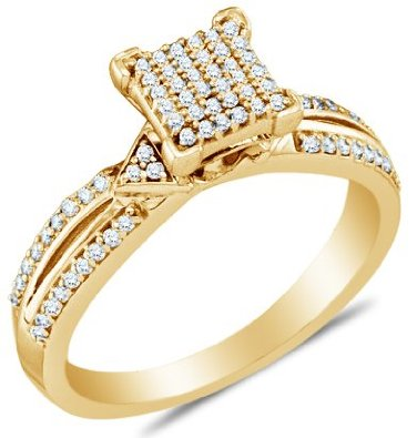 10k Yellow OR White Gold  Diamond Micro-Pave Engagement Ring - 03RG27