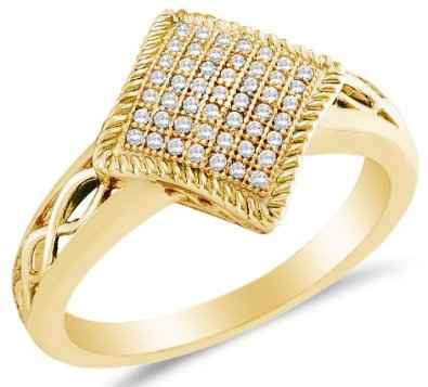 10k White OR Yellow Gold Diamond Micro Pave Engagement Ring - 03RG30