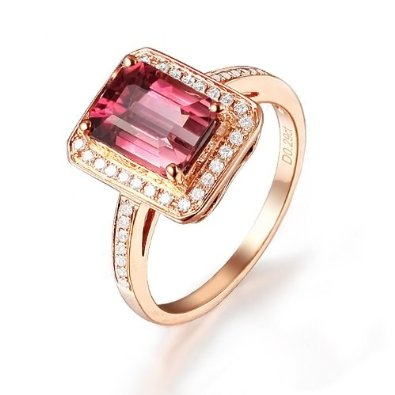 Pink Tourmaline (VVS-Color), 0.27ct Diamond (VS/H), 14k Rose Gold Ring - 03RG35