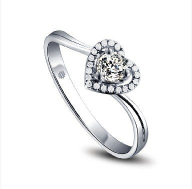 Heart!diamond Engagement Bridal Ring, 0.25ct Solitaire Diamond With 0.03ct Accent Diamonds (SI Clarity, I-J Color), 18k White Gold Wedding Ring - 03RG37