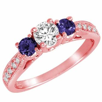 Rose Gold Round 3 Stone Diamond and Blue Sapphire Ring With Milgrain Pave Set Shank (0.95 ctw) - 03RG40