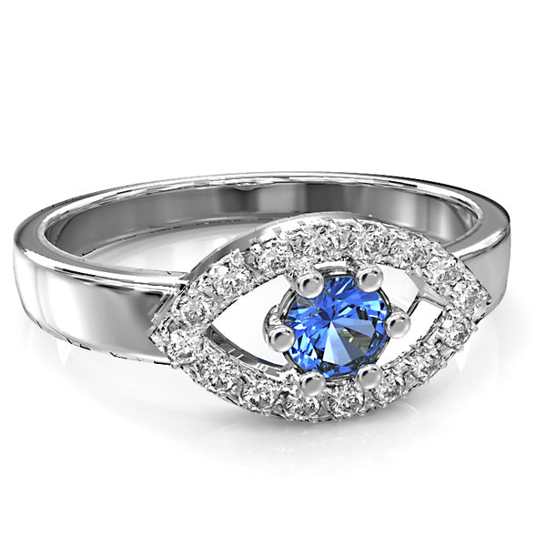 White Gold Diamond and Blue Sapphire Engagement Ring - 03SH05