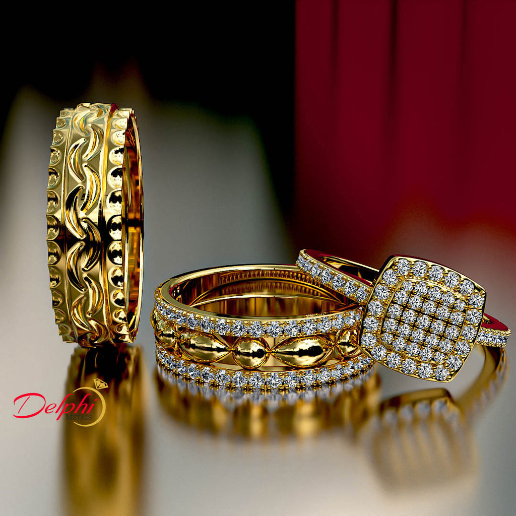 0.6ct Brilliant Diamond Gold Complete Wedding Set