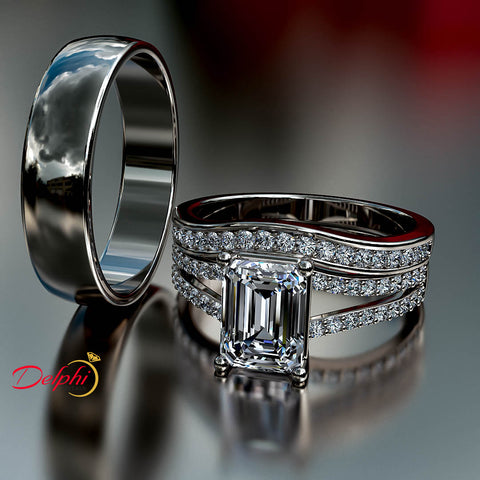 2.07ct Emerald Cut Diamond Gold Complete Wedding Set - 03US05
