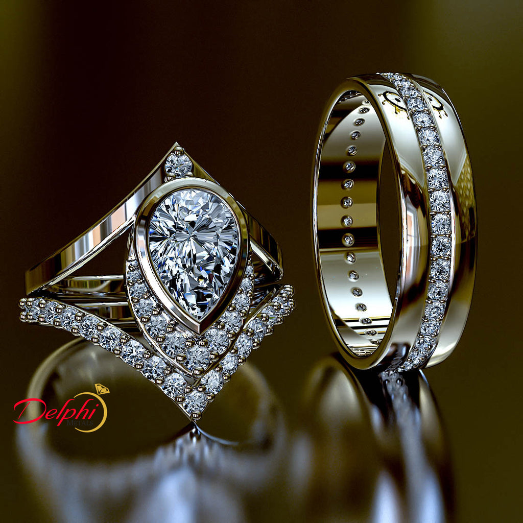 2.93ct Pear Diamond Gold Complete Wedding Set - 03US07