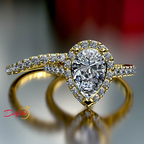 2.0ct Pear Halo Diamond Gold Bridal Set - 03US09