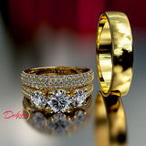 3-Stone Pave Gold Complete Wedding Set - 03US13