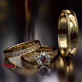 1.38ct Brilliant Cut Diamond Gold Complete Wedding Set - 03US15