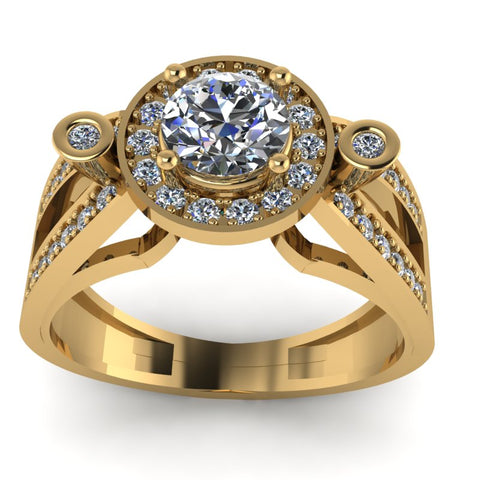 0.9ct Brilliant Cut Diamond Gold Engagement Ring - 03US30