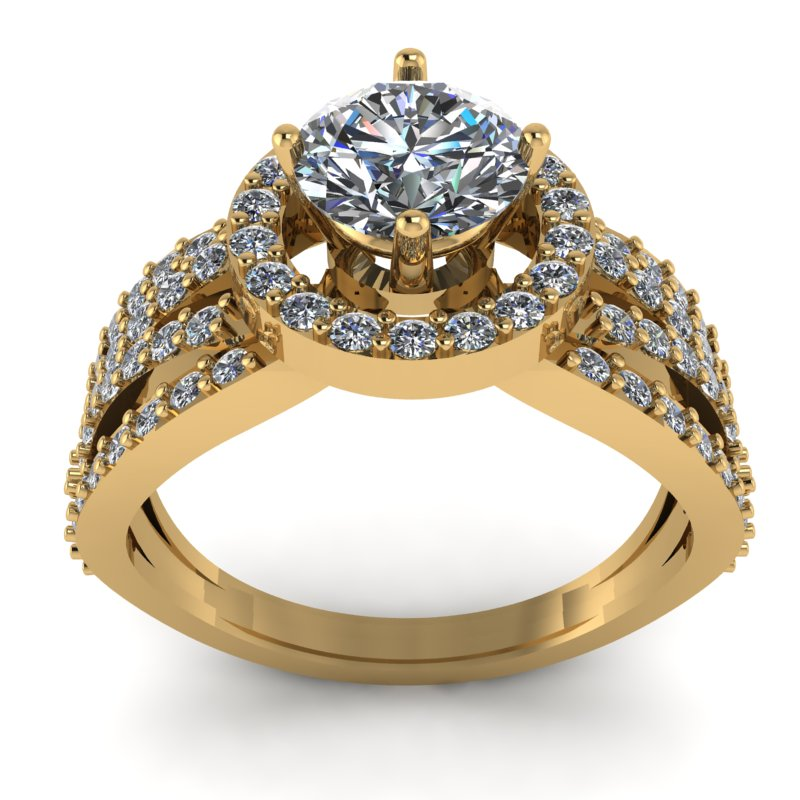 1.56ct Round Cut Diamond Gold Engagement Ring - 03US34