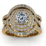2.17ct Cushion Cut Diamond Gold Trio Bridal Set - 03US36