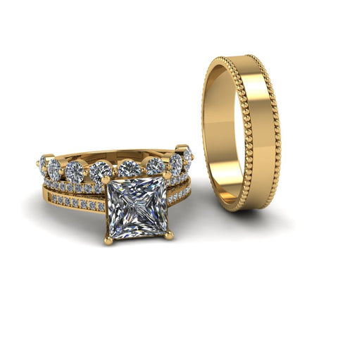 3.4ct Princess Cut Diamond Gold Complete Wedding Set - 03US42