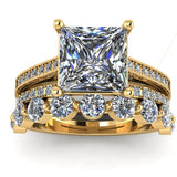 3.4ct Princess Cut Diamond Gold Bridal Set - 03US42