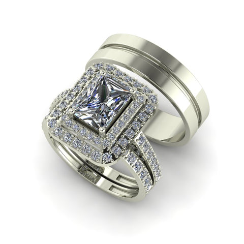 2.26ct Emerald Cut Diamond Gold Complete Wedding Set - 03US50