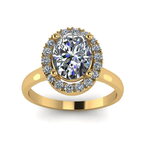 1.61ct Oval Diamond Gold Halo Engagement Ring - 03US51