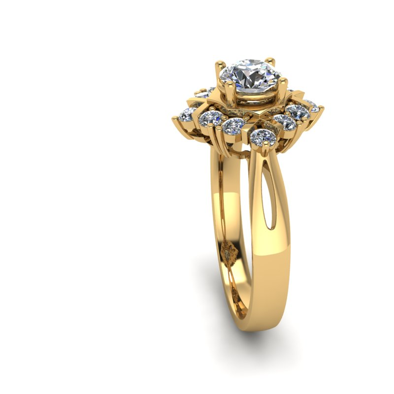 0.83ct Round Diamond Gold Engagement Ring - 03US66
