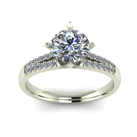 0.95ct Round Diamond Gold Engagement Ring - 03US67