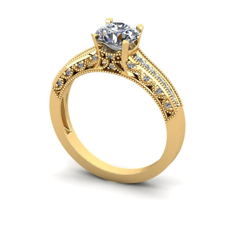 1.1ct Round Diamond Gold Engagement Ring - 03US68