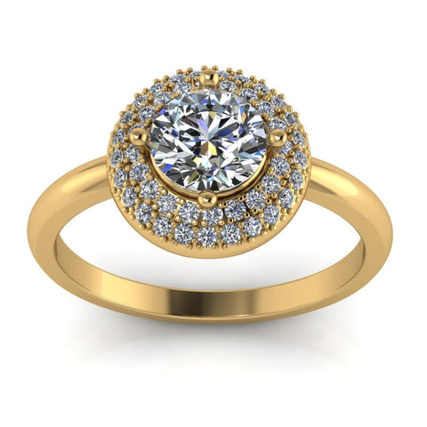 1.03ct Round Cut Diamond Gold Engagement Ring - 03US74