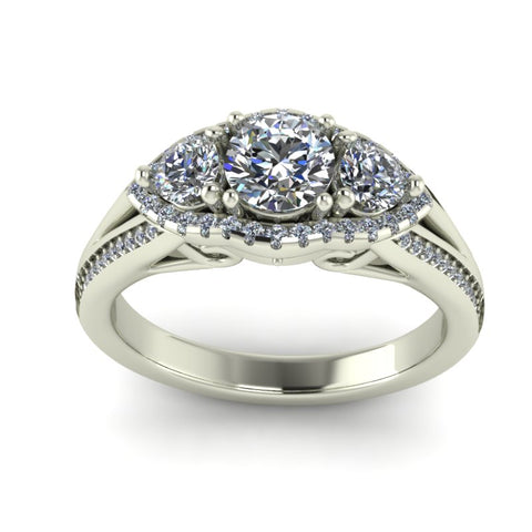 1.13ct Round Cut Diamond Gold Engagement Ring - 03US75