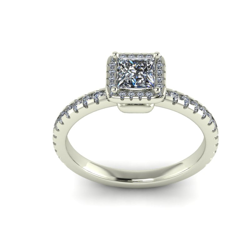 1.03ct Princess Cut Halo Gold Engagement Ring - 03US79