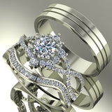 1.64ct Round Diamond Gold Complete Wedding Set - 03US81