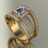 3.03ct Emerald Cut Joined Gold Trio Bridal Set -  03US85