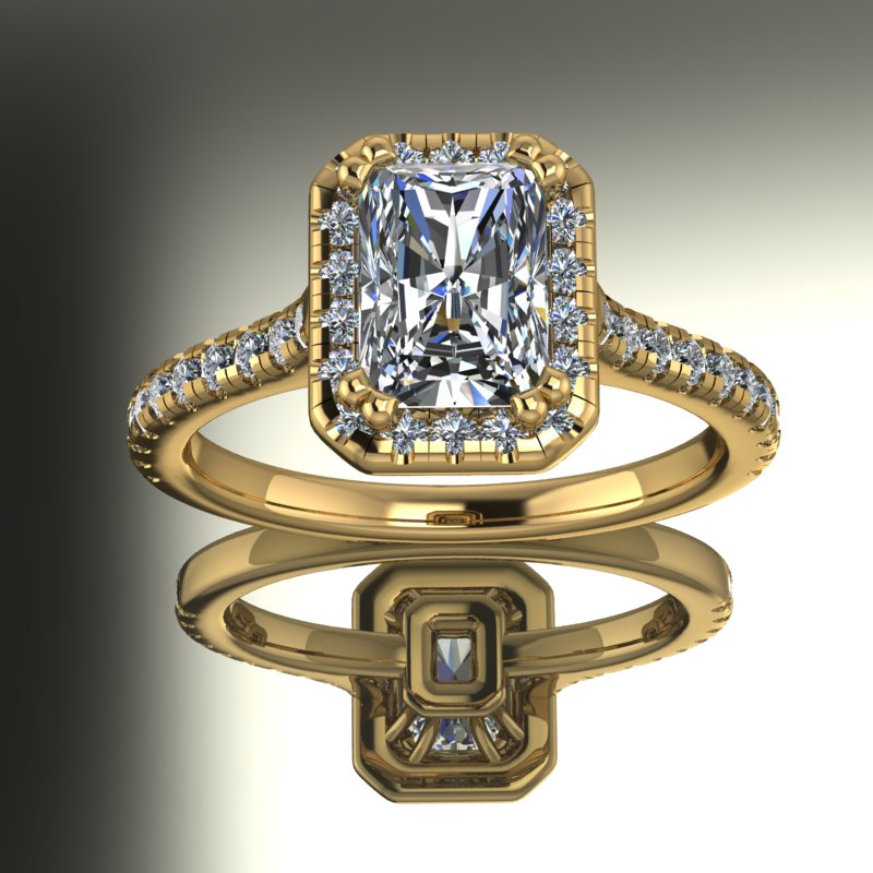 2.05ct Radiant Cut Diamond Gold Engagement Ring - 03US88