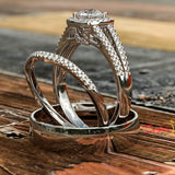 0.77ct Brilliant Cut Split Shank Gold Halo Complete Wedding Set - 03US89