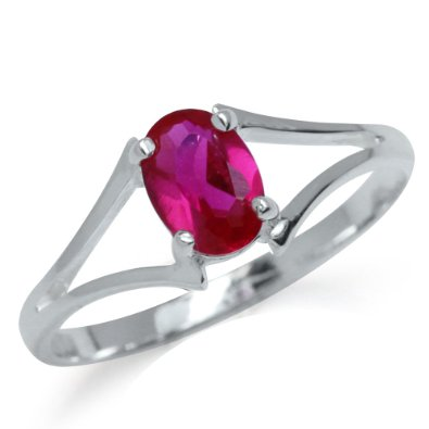 Simulated Ruby 925 Sterling Silver Solitaire Ring - 04AB01