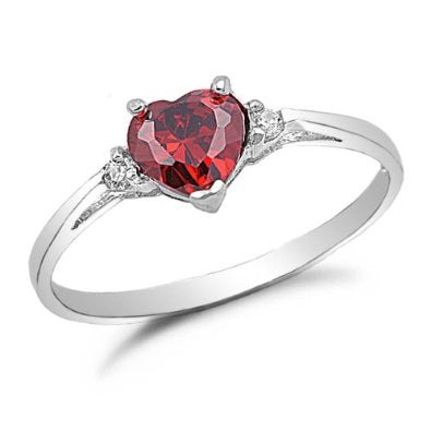 Sterling Silver Ruby Cz Engagement Ring - 04AB02