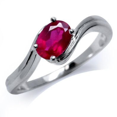 Ruby 925 Sterling Silver Solitaire Ring - 04AB04