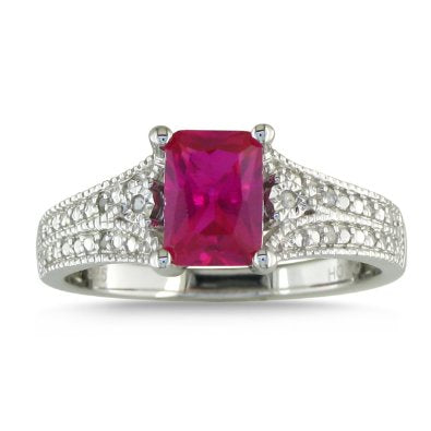 Ruby and Diamond Sterling Silver Ring - 04AB05