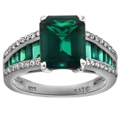 Sterling Silver Created Emerald and Created White Sapphire Octagon Ring - 04AB08