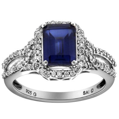 Sterling Silver Created Ceylon Sapphire and Diamond Octagon Ring - 04AB09